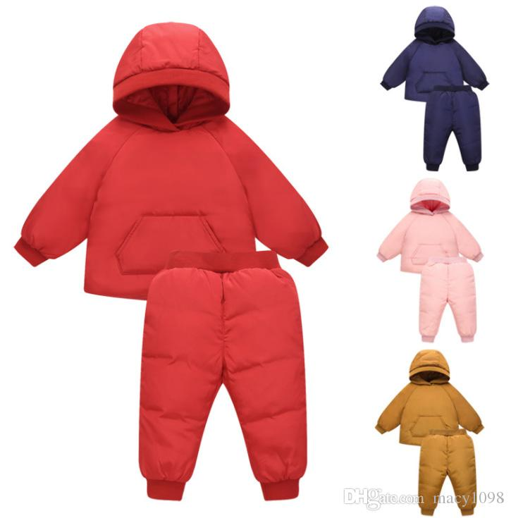 a80c3bcdf47b Cute Baby Girls Boys Feather Down Suit Hooded Top+ PantsWinter ...