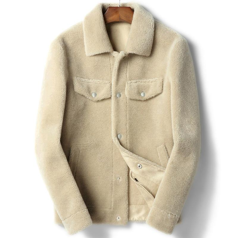 0e77cbf335f 2019 100% Wool Coat Real Sheep Shearling Fur Coat Autumn Winter Jacket Men  Lamb Fur Short Coats Leather Jackets Chaqueta Hombre Y1845 From Insideseam