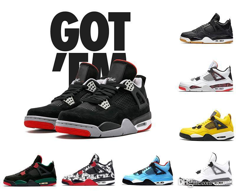 d64233beeb3a8b Raptors Tattoo Basketball Shoes Travis Scott 4 4s Cactus Jack Pure Money  Pizzeria Black Cat Gum Sneakers Trainers Sports 5.5 13 Rrmall UK 2019 From  Rrmall