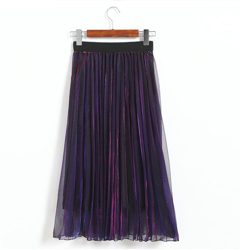 Women Gradient Multi Layers Skirt Tulle Tutu Princess Elegant Long High Waist Pleated Skirt Fashion High Waist Maxi Skirts