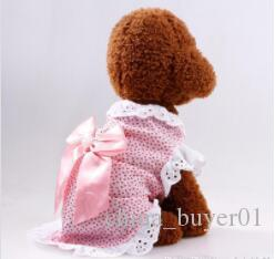 Polka Dot Dog Dresses Summer Pet Dress Yorkie Princess Dress with Satin Bow Lovely Dress Small Dogs Pet Clothes