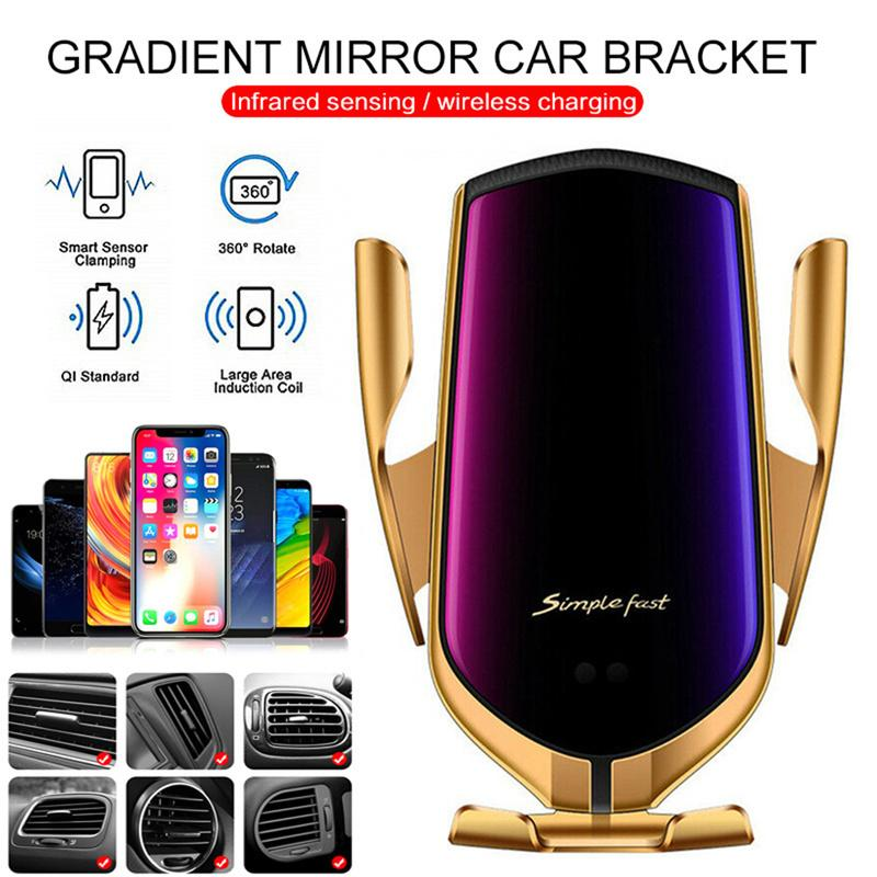 R1 Automatic Clamping 10W Car Wireless Charger For iPhone Xs Huawei LG Infrared Induction Qi Wireless Charger Qi Wireless Charger