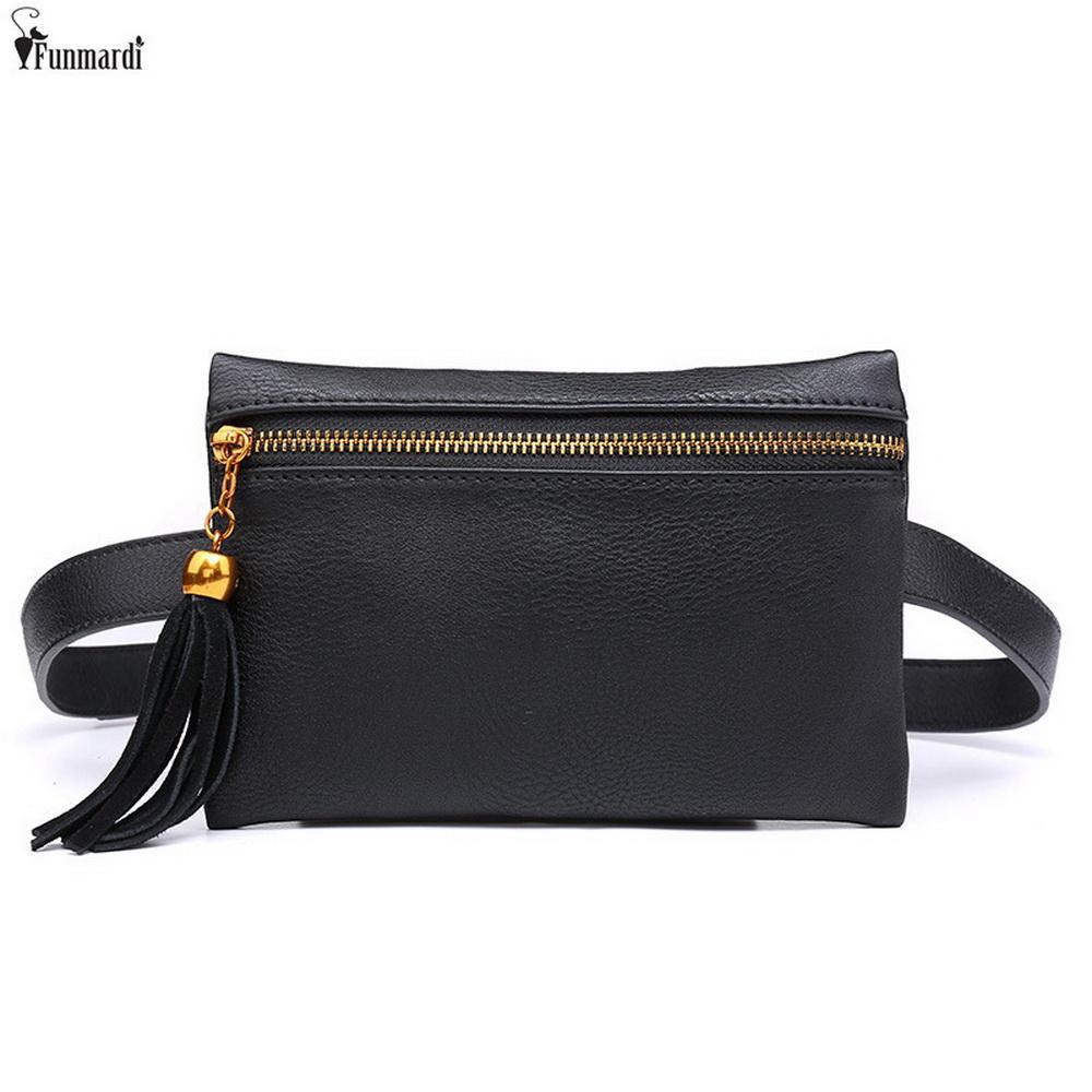 398f8adbca9 travel waist pack FUNMARDI Vintage PU Leather Waist Bags New Tassel Design  Fanny Packs Money Phone Belt Bags For Women Fashion Mini