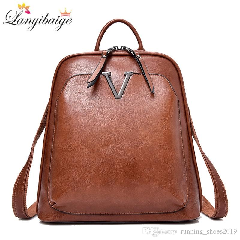 1f18b48595 New Vintage Women Backpack High Quality Leather Brand Female ...