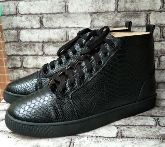 Wholesale Men Sneakers High End Custom Genuine Leather White Casual Shoes  Punk Design High Top Serpentine Red Bottom Sneakers Size 36 47 Sneakers  Shoes Geox ... 924914bb08f8