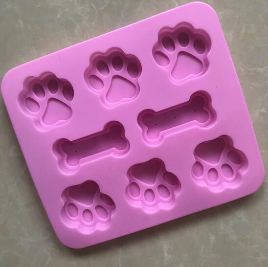 Silicone Molds Puppy Dog Paw & Bone Shaped 2 in 1 8-Cavity FineGood Reusable Ice Candy Trays Chocolate Cookies Baking Pans