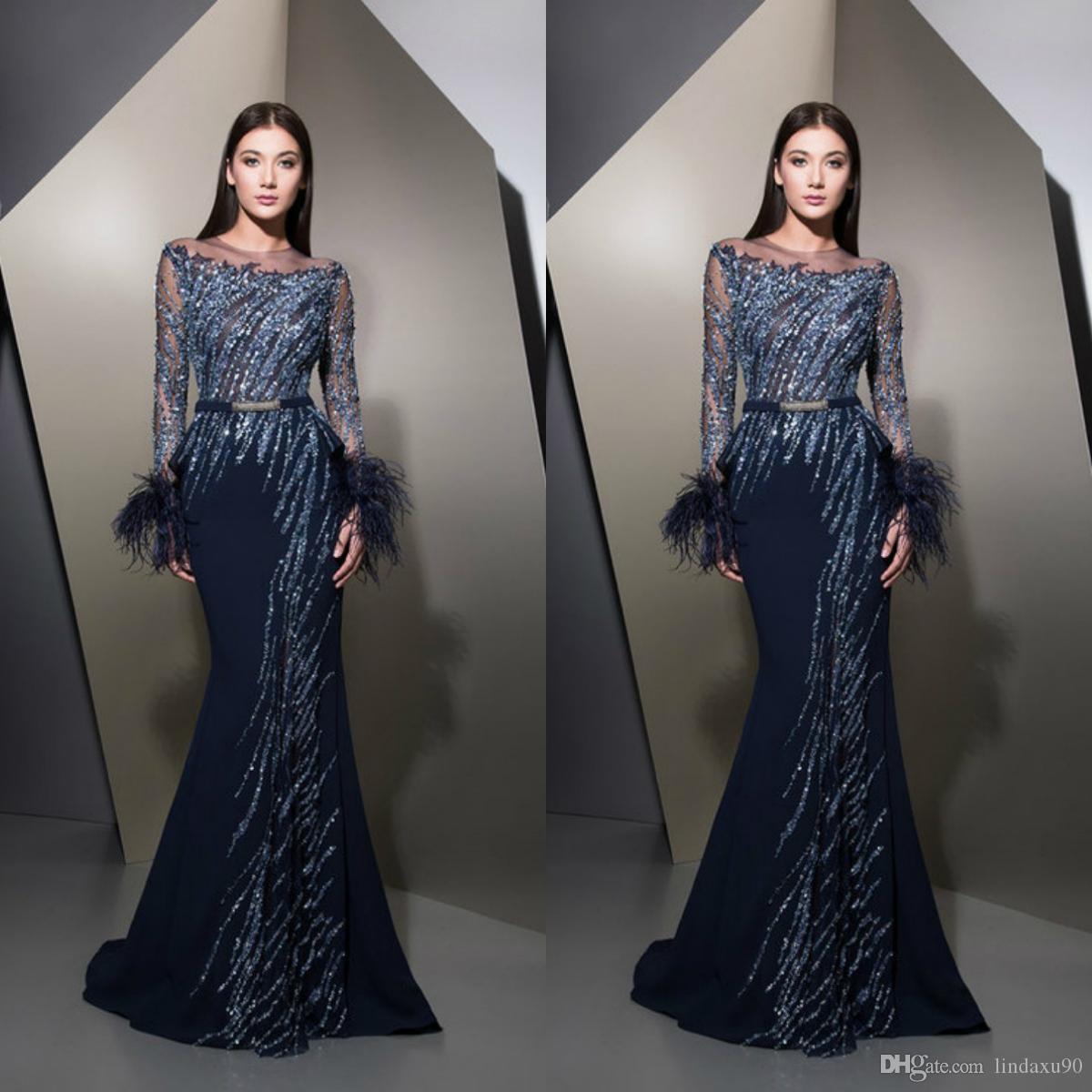 0513074aab634 Ziad Nakad Mermaid 2019 Feather Evening Dresses Long Sleeve Illusion Beaded  Sequins Formal Prom Gowns Dark Navy Sweep Train Party Dress Long Red Prom  ...