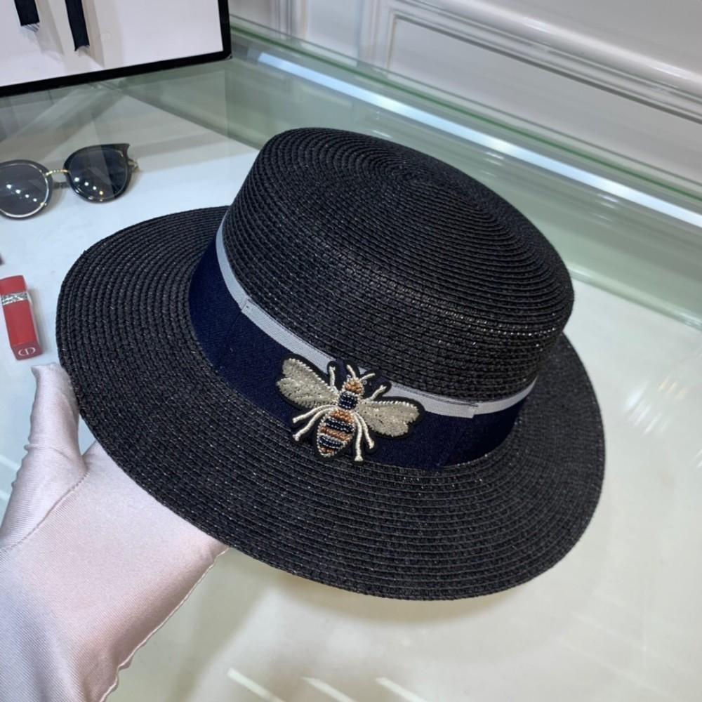 01633308 Women's Dome Hat Classic Embroidered Bee Flat Straw Hat, Fashion ...