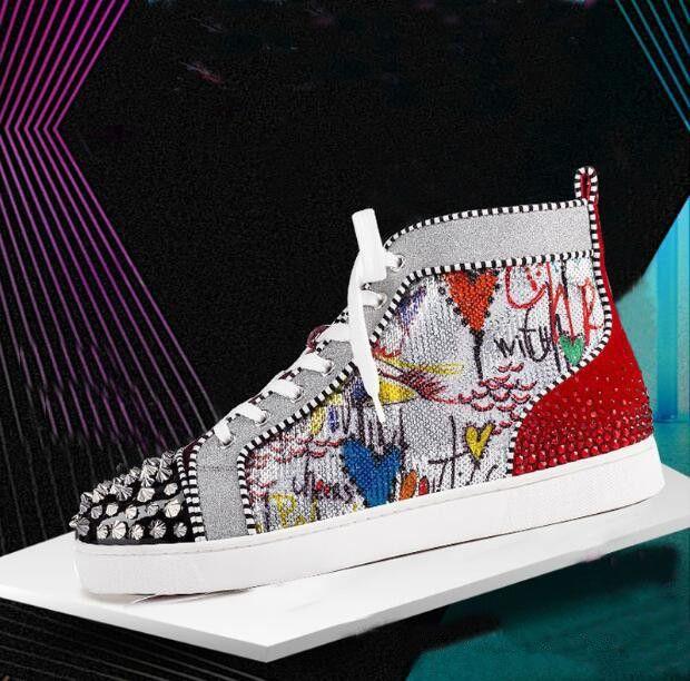 8dea0095c58 2019 New Season Red Bottom Sneakers Men Shoes Luxury Print Silver Pik Pik  No Limit RARE studs and rhinestones graffiti