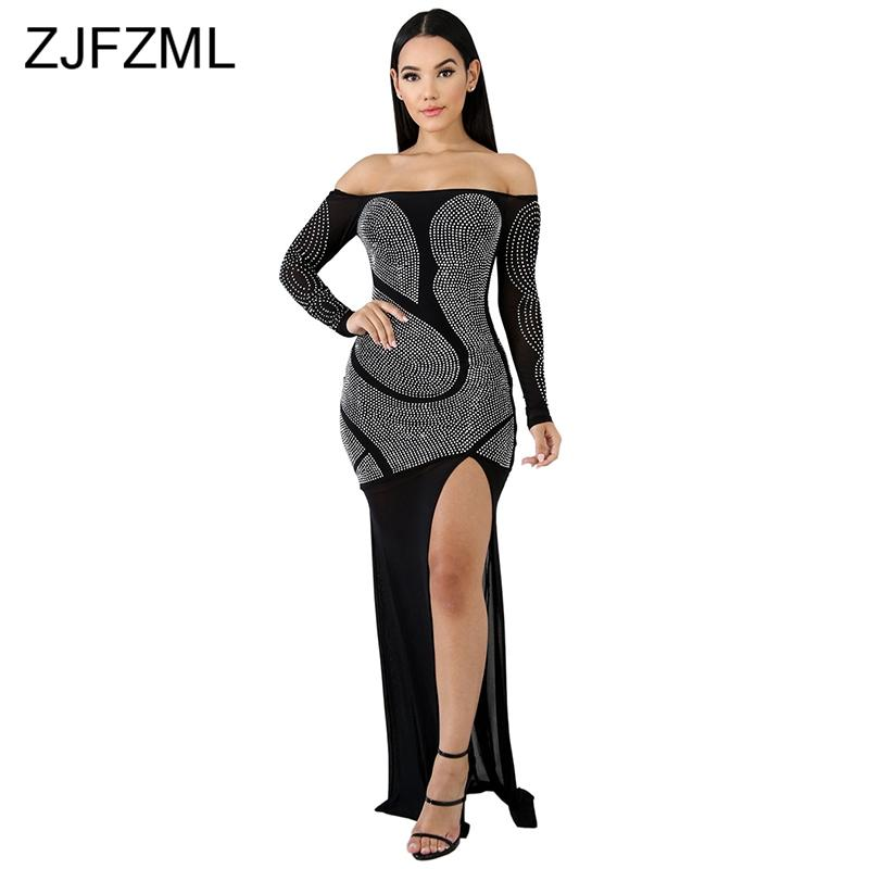 717162827511 Spark Rhinestone Off Shoulder Sexy Party Dress Women Long Sleeve High Waist Maxi  Dress High Split Transparent Bodycon Dress Cheap Dress Evening Dresses With  ...