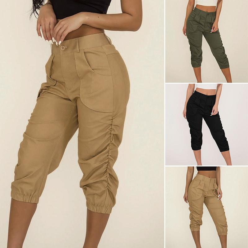 9a78503a0376 2019 женские брюки женские капри повседневные летние сплошные брюки