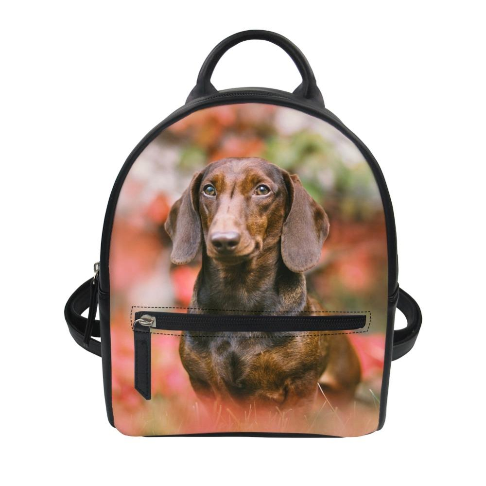 2019 Dachshund Dog Printing Children Small school Backpack Pu Leather Women Travel Mini Bags Student Crossbody Backpacks Man Bag