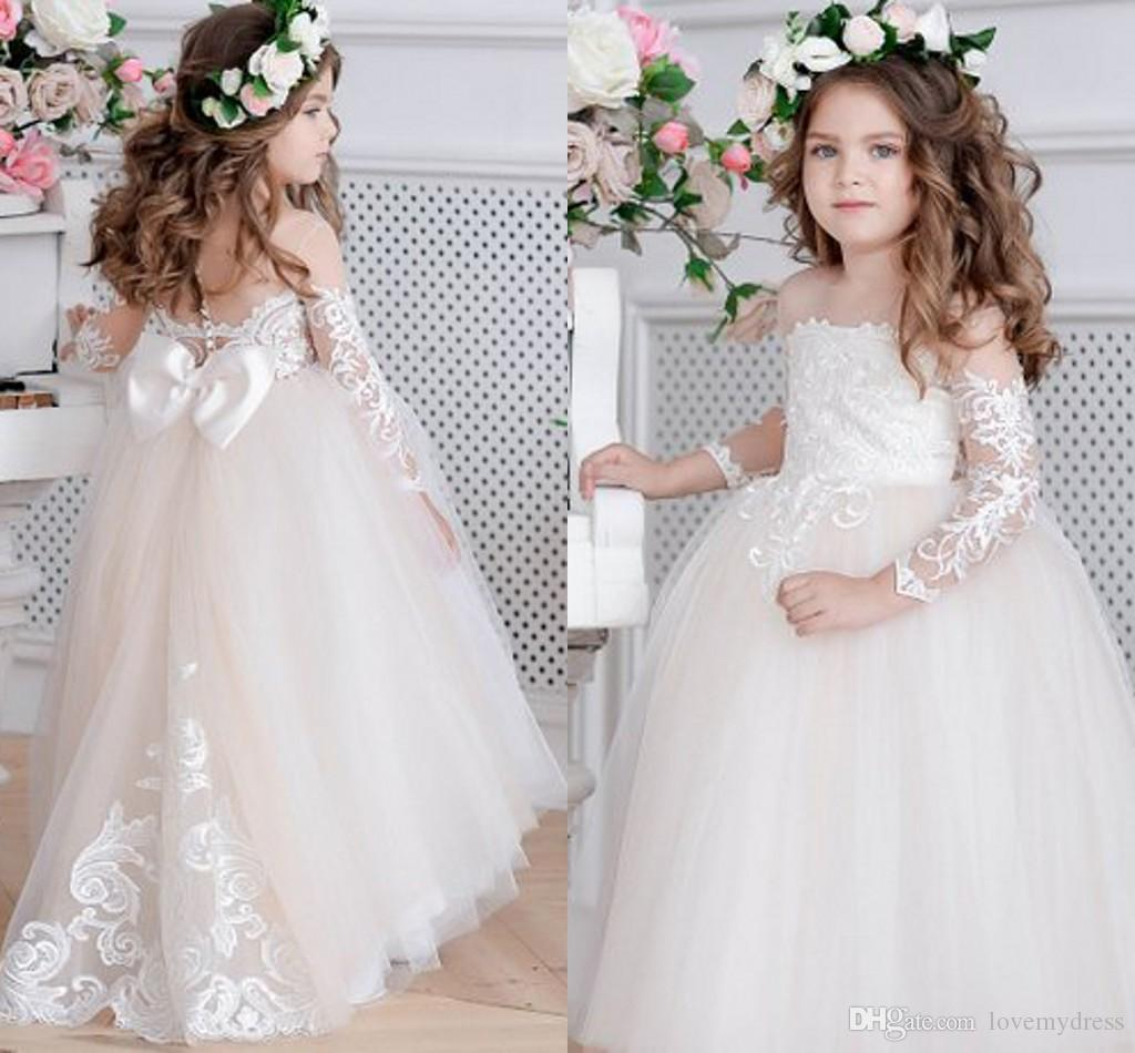 c95b2e1cf56 2019 Illusion Long Sleeve Flower Girl Dresses For Wedding Princess Ball Gown  Bateau Bow Lace Applique First Communion Dress Kids Girl Dress Pink  Princess ...