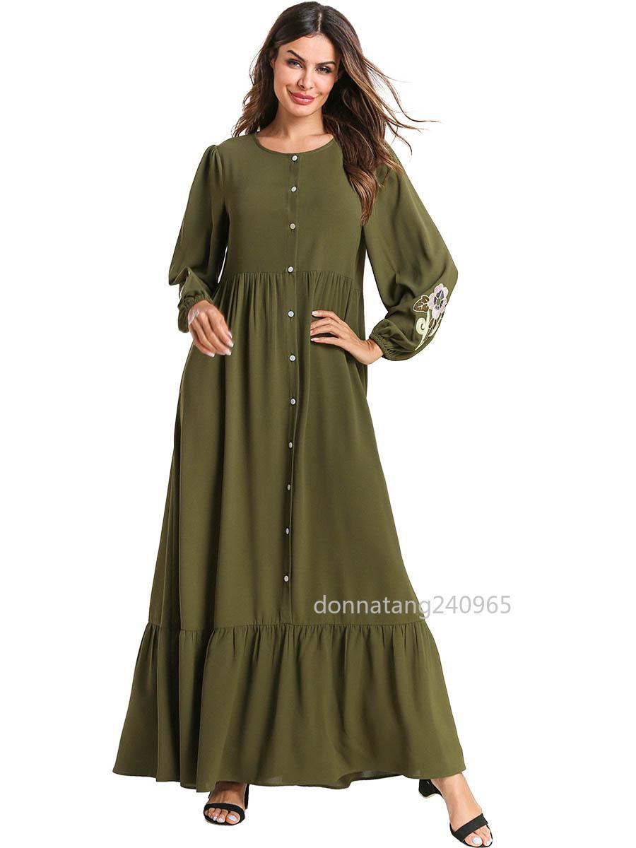 088bbd1de080b81 7551 Женщины Абая Турция Дубай Зеленое Мусульманское Платье Пуговица Платья  Вышивка Кафтан Турецкая Исламская Одежда Плюс Размер Халат Бангладеш