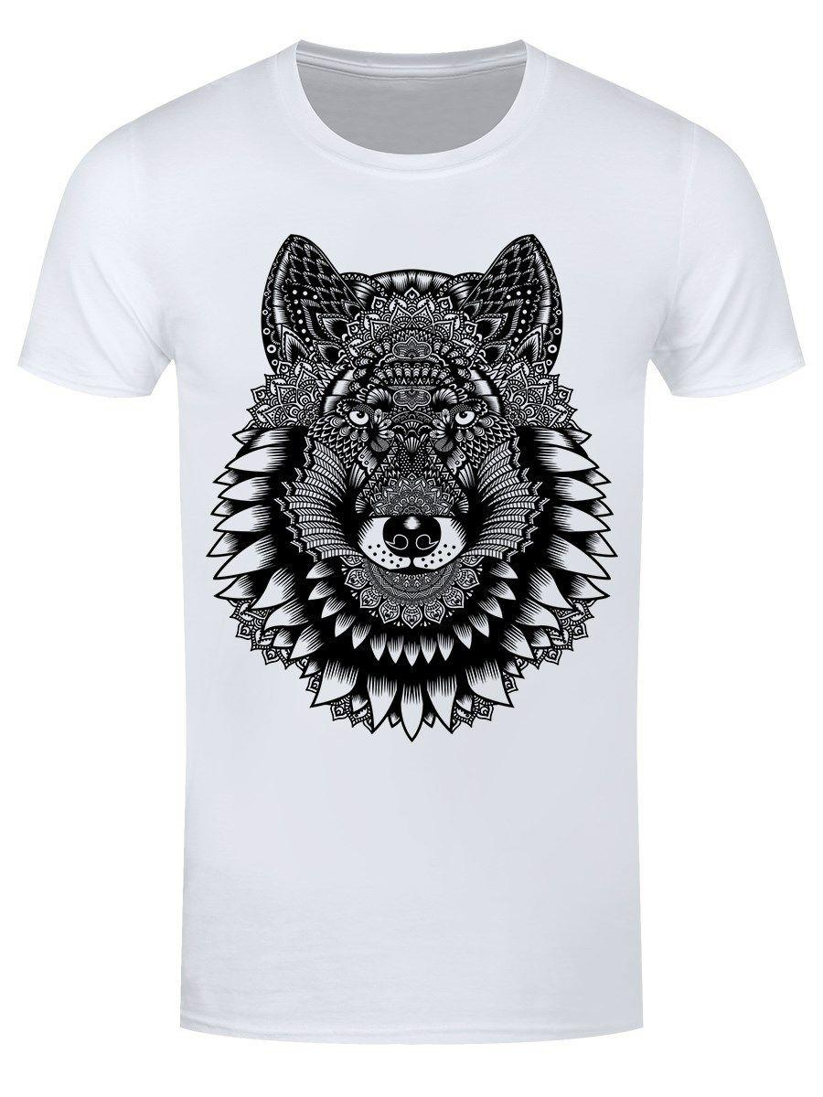 Unorthodox T-shirt Wolf Mandala Men's White fan pants t shirt