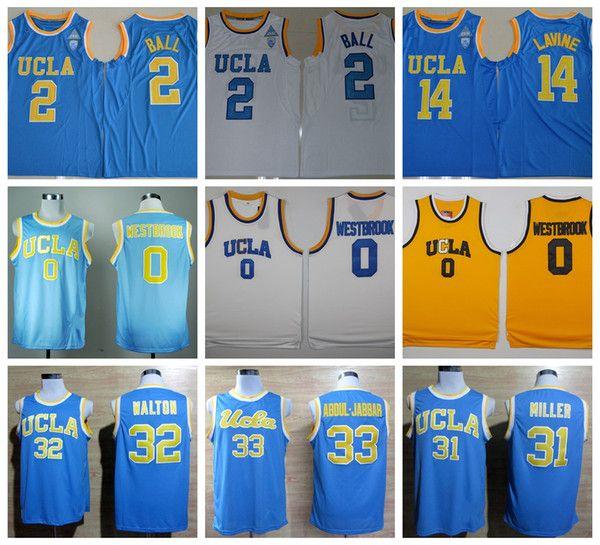 023d43fae46a 2019 UCLA Bruins College Basketball Jerseys 0 Russell Westbrook 2 Lonzo  Ball 33 Kareem Abdul Jabbar 31 Reggie Miller 32 Bill Walton Shirts From  Feiteng003
