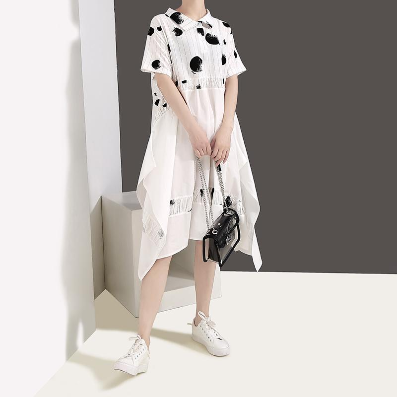 New 2019 Korean Style Women White Shirt Dress Short Sleeve Dots Printed Knee Length Female Stylish Casual Wear Dresses Robe F271