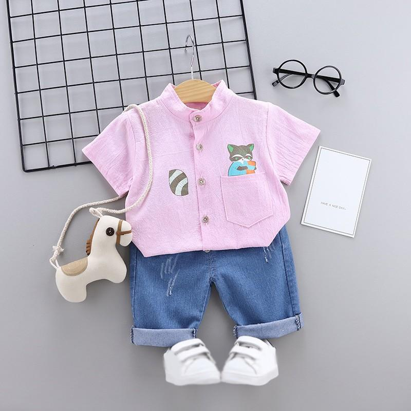 2Pcs/Set 2019 Summer Baby Boys Short Sleeve Cartoon Animal Print Tops Blouse Shirt+Denim Shorts Children Casual Outfits Sets