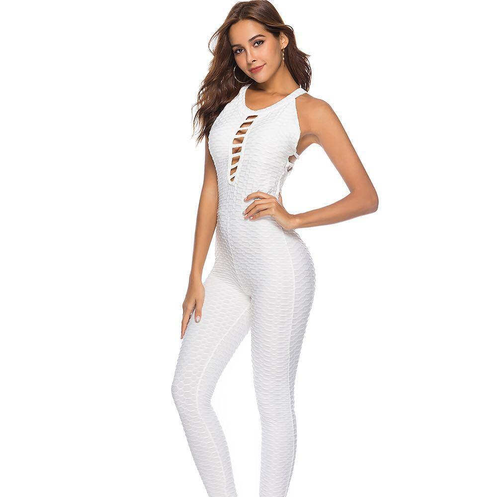 Curvy booty rompers womens jumpsuit bandage backless elastic bodysuit Fitness gym sports overalls body suit
