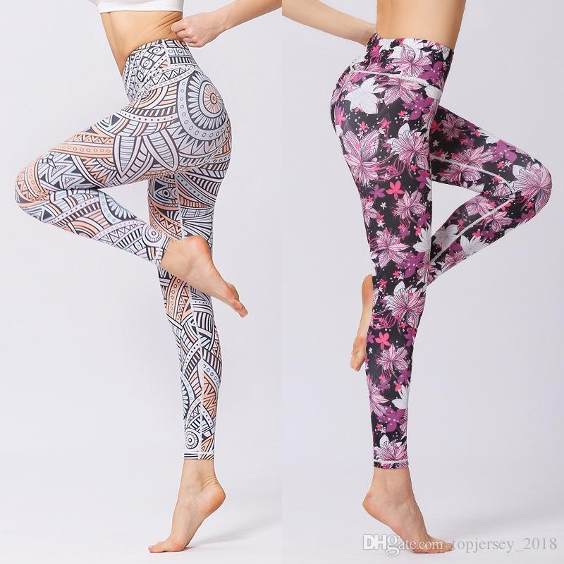 f39920188b 2019 Yoga Pants Printed Dry Fit Sport Elastic Fitness Gym Workout Running Tight  Leggings Female Trousers Women Slim High Waist Tights #185861 From ...