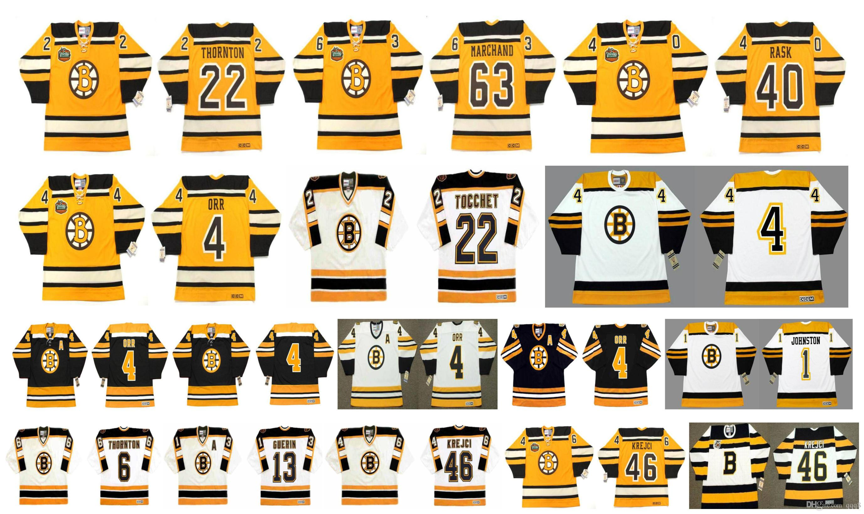 Vintage Boston Bruins Jersey 4 BOBBY ORR 63 Brad Marchand 40 Tuukka Rask 22 RICK TOCCHET 22 Shawn Thornton 1 EDDIE JOHNSTON CCM Retro Hockey