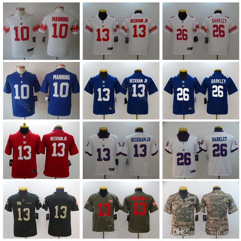 Youth New York Football Giants Jerseys 10 Eli Manning 26 Saquon Barkley  Kids Blue White Red Camo Green Children