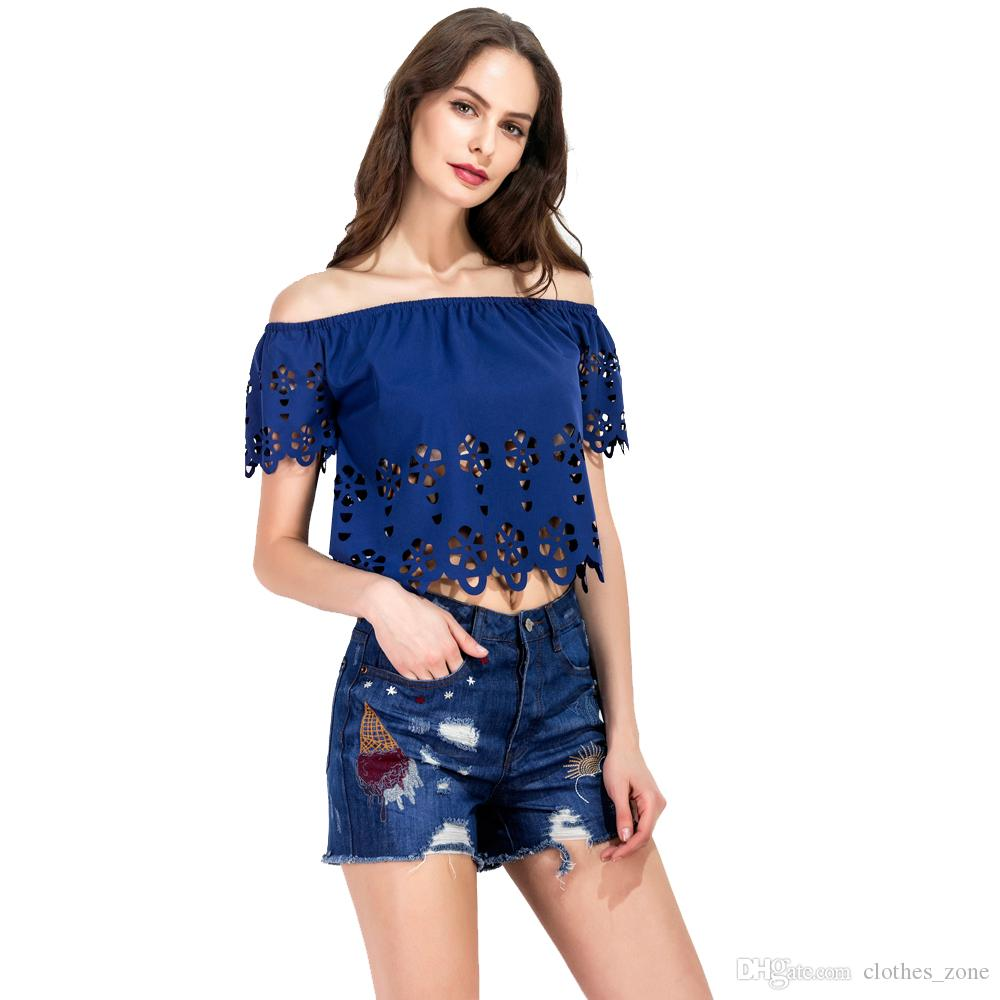 8043e30b829d 2019 Off Shoulder Top Hallow Out Blue Sexy Unique New Look Summer Women  Blouse From Clothes zone