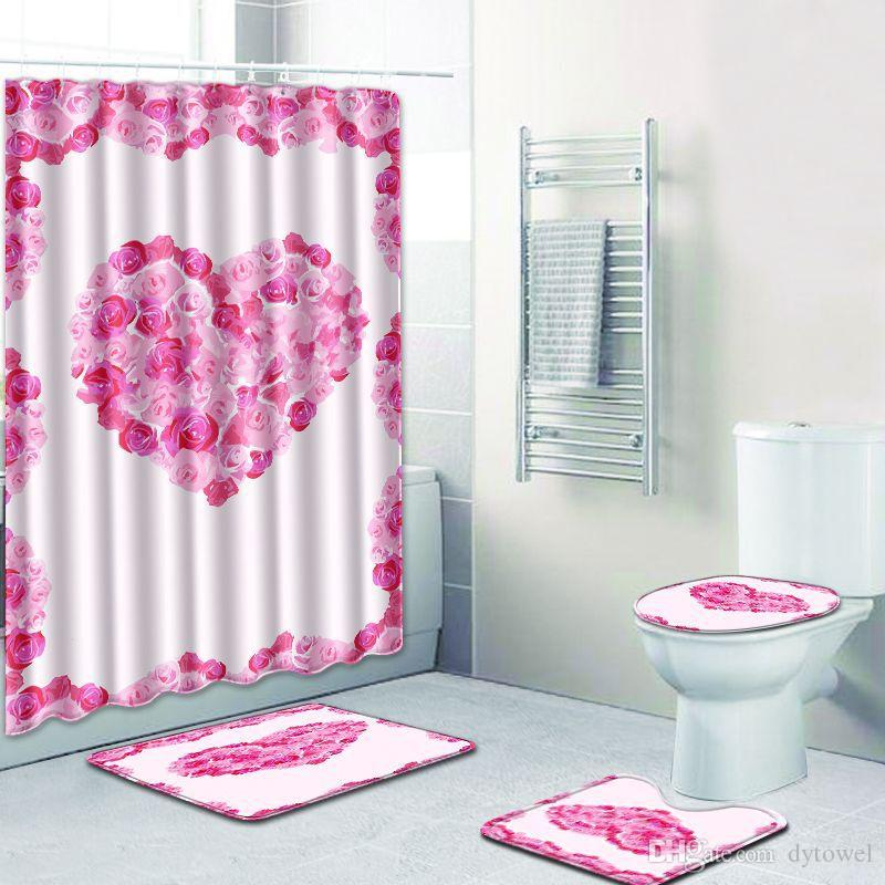 Valentines Day Gift 3D Rose Heart Bath Mat And Shower Curtain Set Bathroom Carpet Toilet Seat Cover Wedding Decoration