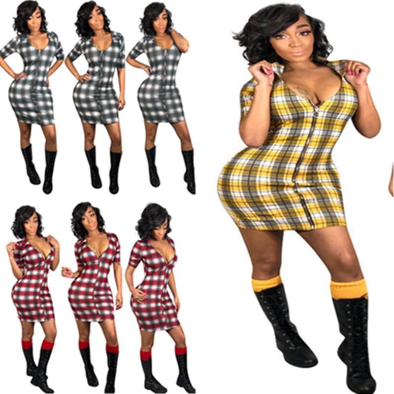 98e227c5da2b Summer Women Plaid Short Dress Deep V Neck Front Full Zipper Tight Skirt  Short Sleeve Skinny Dresses S 3XL Club Party Dresses A371 Casual Long White  Summer ...