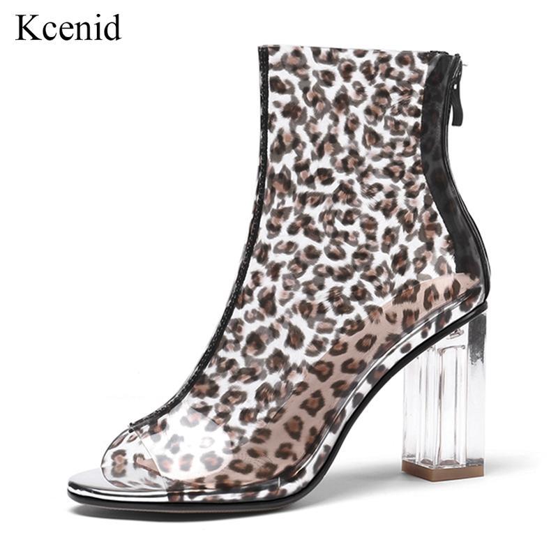 b8c08c38 Compre Kcenid 2019 Botines De Mujer Zapatos De Verano Sexy Peep Toe Cristal Transparente  Botas De PVC Claro Tacones Altos Leopardo Chelsea A $66.78 Del ...