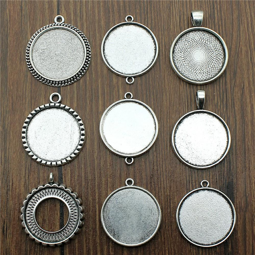 10pcs/lot Fit 25mm Round Glass Cabochon Base Setting Pendant Tray For Jewelry DIY Making Antique Silver Color FM4029