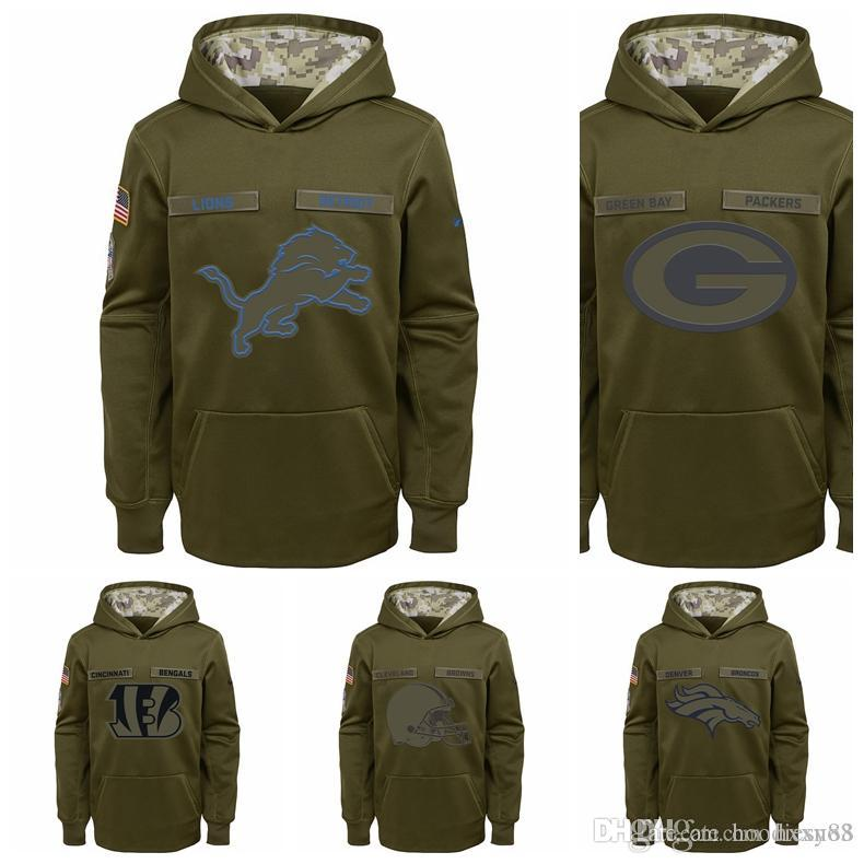 2019 Cincinnati Bengals Cleveland Browns Denver Broncos Detroit Lions Green  Bay Packers Youth Salute To Service Pullover Performance Hoodie From  Hoodiesno3 fabd98ff7