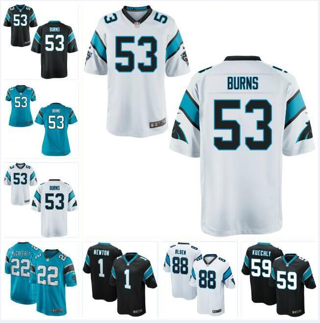 online retailer fd4ca ce312 53 Brian Burns Cam Newton Panthers Jersey Christian McCaffrey Luke Kuechly  Greg Olsen Will Grier custom american football jerseys color rush