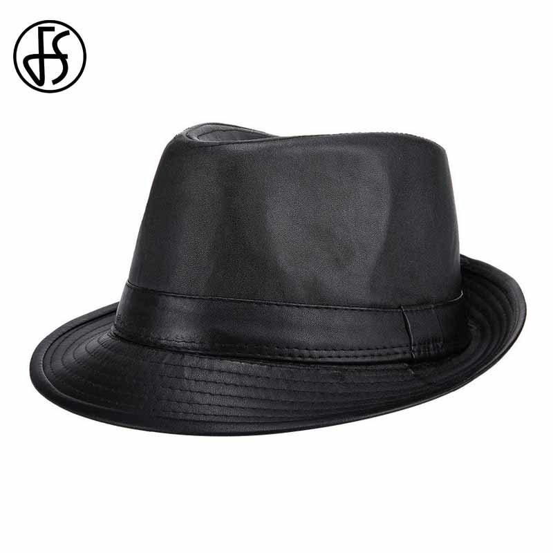 945b8821a0 FS Brand New Black PU Fedora Hat For Men Classic England Style Caps Casual  Fashion Jazz Hats Vintage Wide Brim Visor D19011102