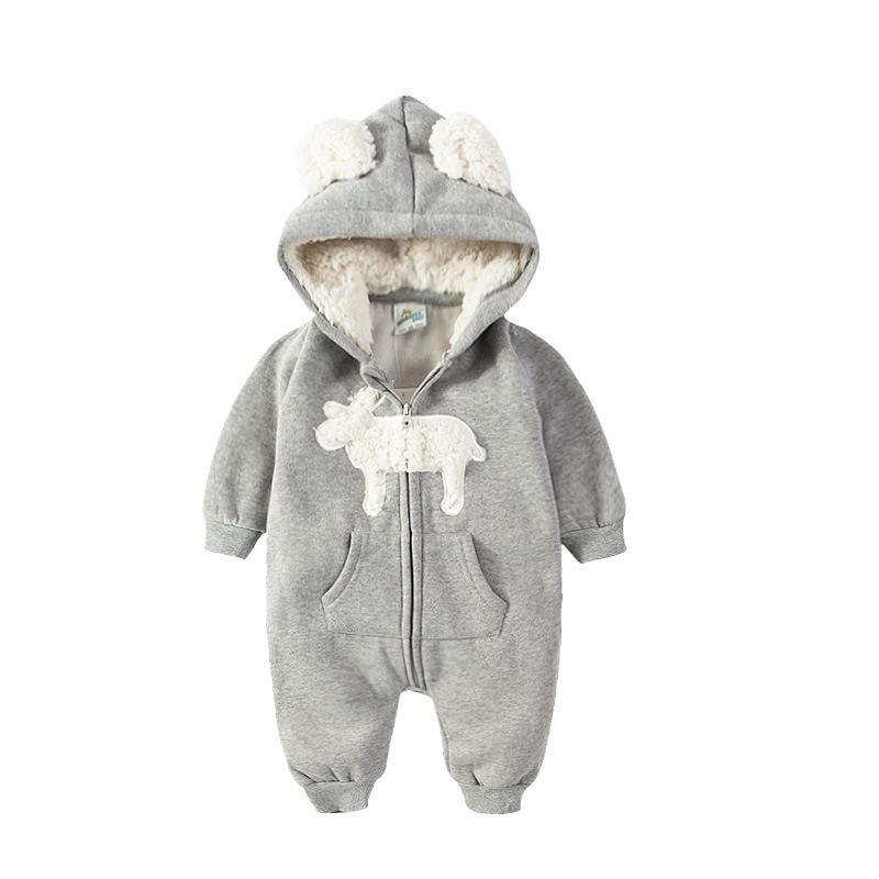 ... Adquisiciones Mamelucos Para Bebés Recién Nacidos 0 12 M Dibujos  Animados Lindo Elk Cremallera Con Capucha Espesar Caliente Otoño Invierno  Unisex Mono A ... 4c1067e5ef6
