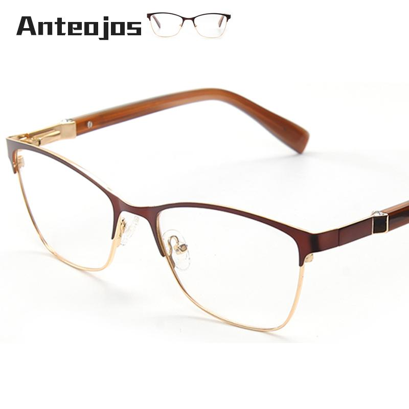 7ee06c0f4a5 2019 ANTEOJOS Women S Eyewear Frame 2019 New Fashion Diamond Decoration  Brown Metal Spring Hinge Female Spectacles Frames For Myopia From Copy04