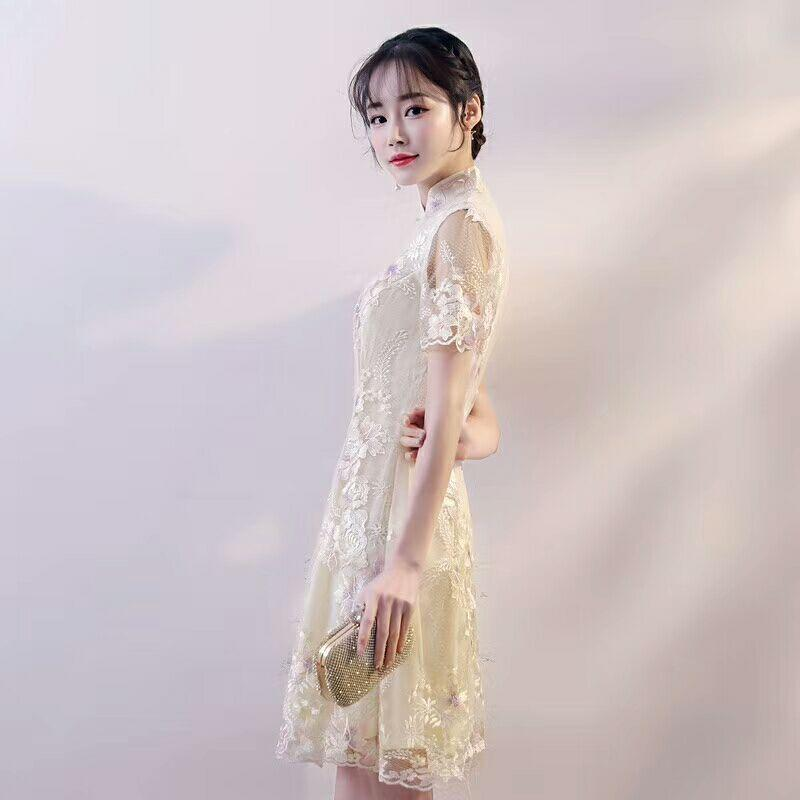 b5047973ca Sexy Chinese Wedding Dress Qipao Mini Cheongsam Fashion Short Qi Pao  Traditional Women Evening Gown China Bride Traditions