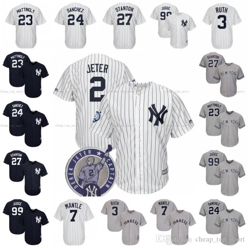 the best attitude 3319f be8a6 New York 99 Aaron Judge Yankees Baseball Jersey 27 Giancarlo Stanton 25  Torres 2 Derek Jeter 23 Mattingly 24 Sanchez 3 Ruth 7 Mantle Rivera