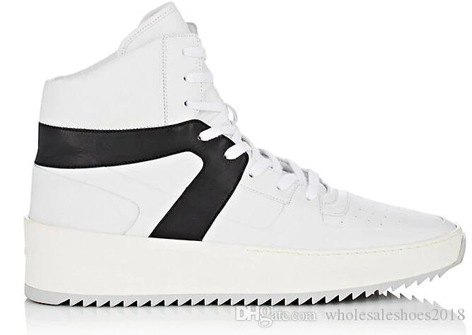 2018 FEAR OF GOD Military High-Top Sneakers black white leather ankle Boot Fog Jerry Lorenzo Kanye black Nylon running shoes 39- 46