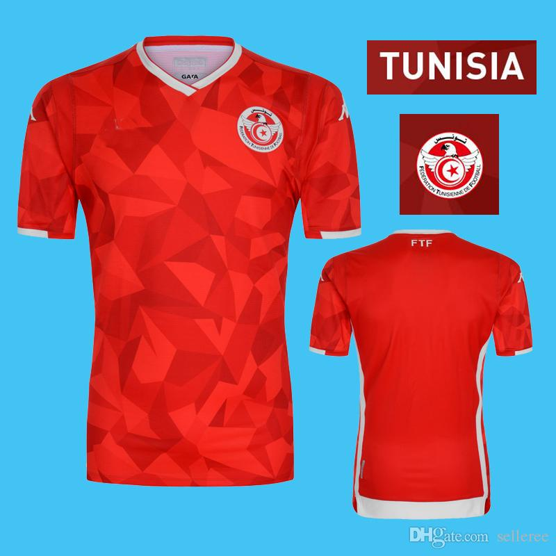 100% authentic 87f70 3d913 2019 20 Tunisia Soccer Jerseys 10 KHAZRI 7 MSAKNI 23 SLITI AKAICHI WAHBI  KKAOUI FAKHREDDINE HAMZA home red Football team kits uniforms suits