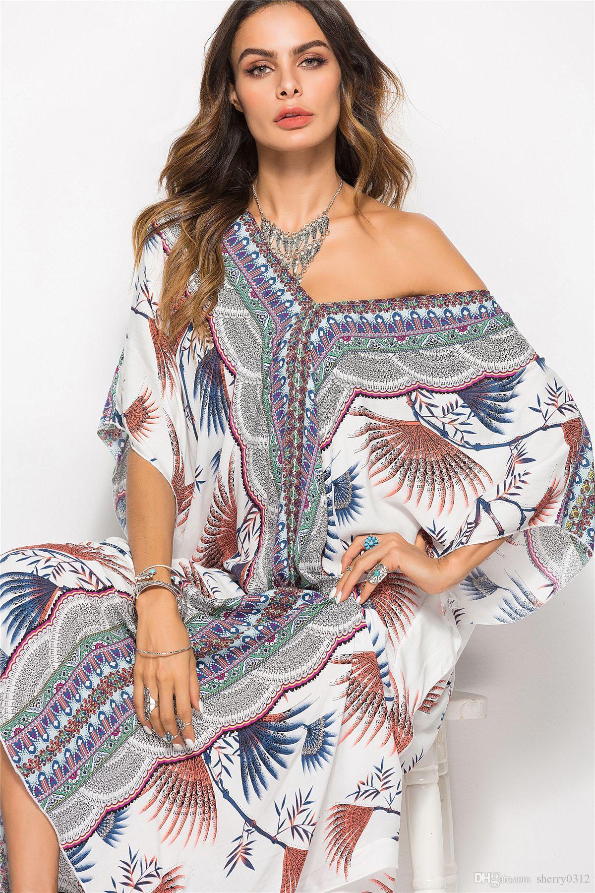 cc8ee31e4 Compre Nuevos Vestidos Bohemios 2019 Verano De Las Mujeres Vestido Bohemio  De La Playa De Boho Estampado Floral Bohemio Dividir Vendimia Étnico Traje  Femme ...