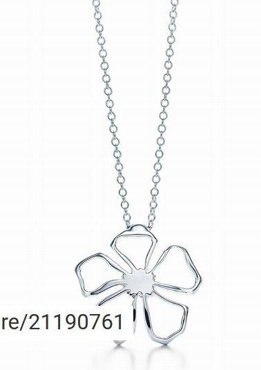 liruoxi1314 High Silver Clover necklace Silverware Metal Heart-shaped Pendant necklace Jewelry