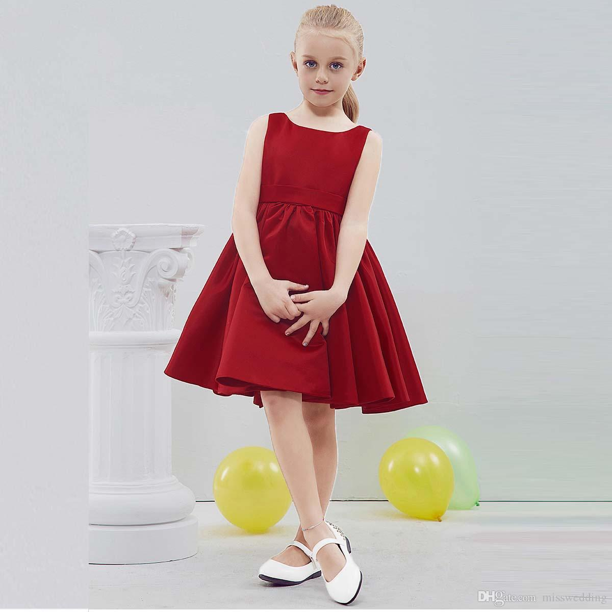 fb60d2f8381 Misswedding 2019 Style Simple Design Small Girls  Dress With Bow ...