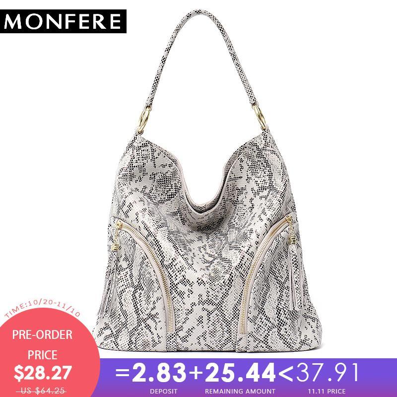 48030bb52722 2019 Fashion MONFERE Women Shoulder Bag Leather Handbags Snake Animal  Pattern Ladies Hobo Woman Bag 2018 Large Cowhide Zip Tassel Handbag Rosetti  Handbags ...