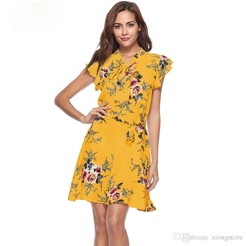 New 2019 Summer Dress Butterfly Sleeve Print Bow V-Neck Dress A Line Casual  Fashion Sexy Ladies Boho Yellow Dresses For Women 2019 Women Dresses Yellow  ... 0fccc8b539cf