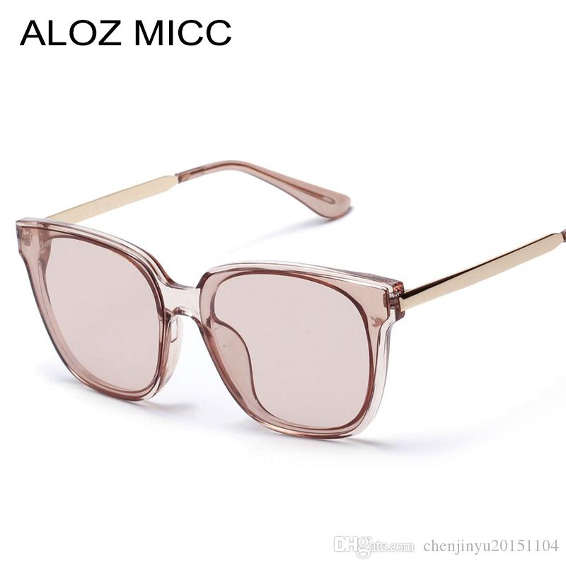 e0514cca70a ALOZ MICC 2019 Classic Fashion Women Men Sunglasses Square Frame Clear  Lenses Gray And Brown New Style Lady Glasses Uv400 A264 Cheap Eyeglasses  Online ...