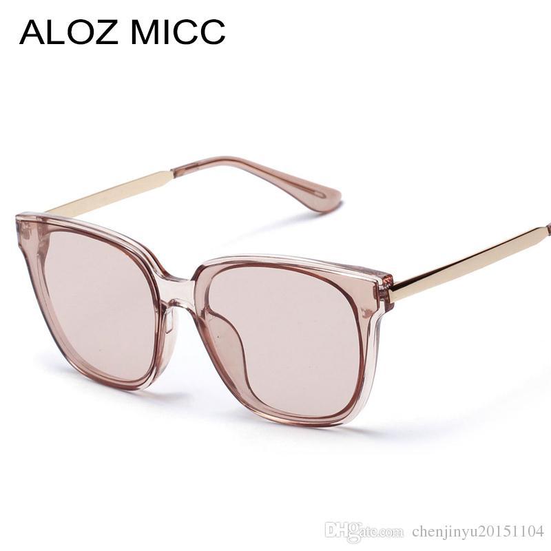 86600f66ee Compre ALOZ MICC 2019 Moda Clásica Mujeres Hombres Gafas De Sol Montura  Cuadrada Lentes Claros Gris Y Marrón Nuevo Estilo Lady Glasses Uv400 A264 A  $10.5 ...