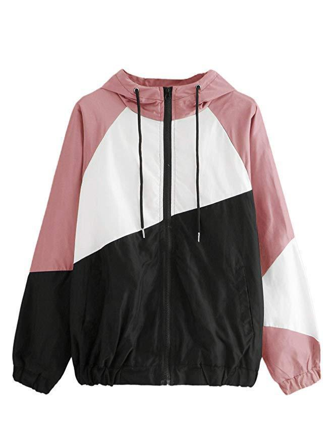 Mode-Frauen-Patchwork-Frühlings-Windbreaker-Jacken mit Kapuze Rush Guard Summer Beach Casual Sports Jacket