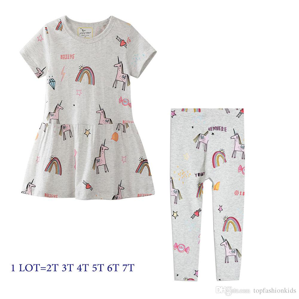3183ab97d602a Girl Summer Dress with Match Leggings Kids Clothes Sets Unicorn Animals  Print Cute Dress + Breathable Leggings 2-7Years