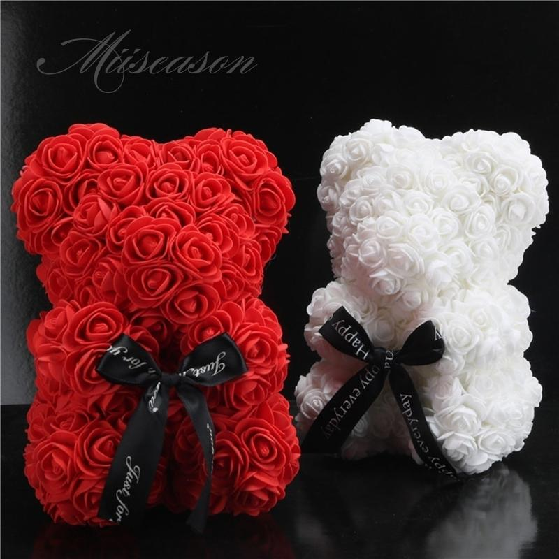 2019 Hot Sale 25cm Soap Foam Bear Roses Teddi Bear Rose Flower Artificial New Year Wedding Gifts Women Valentines Christmas Gift J190711